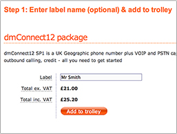 Order a phone number package with virtual switchboard